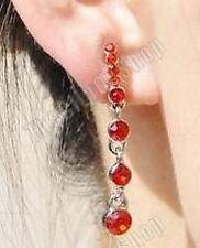CLIP ON crystal RED DIAMANTE 4cm long DROP EARRINGS