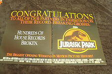 "JURASSIC PARK 1993 ad Steven Spielberg, ""Biggest Opening Weekend in History!"""