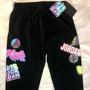 NWT Nike Air Jordan Retro Logos Sweatpants Boy's Size Large Black Joggers Pants