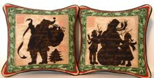 Christmas - Santa, Snowman by Susan Winget Set Of 2 Small Tapestry Pillows New