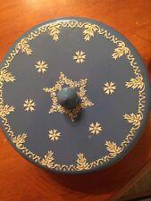 "Vintage Women's Bath Powder/Talc Tin-6""-Embellished-Blue/White-SHIPS FREE"