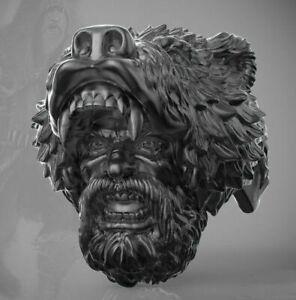 Berserk Warrior Bearskin Heavy 925 Silver Black Rhodium Plated Men's Biker Ring