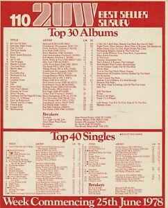 2UW BEST SELLER SURVEY FOR 25th JUNE 1978: TOP 40 SINGLES & TOP 30 ALBUMS