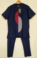 Traditional African Men's Wear - African Men Suit - Blue - size XL    (#M1)