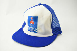 Vintage Sherwin Williams Paint Snapback Trucker Hat Blue Mesh Cap Cover Earth