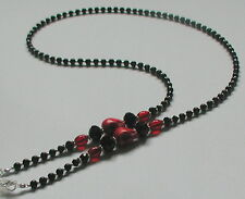 NEW Black Glass Peal Beads Red Skull Glasses Chain Spectacles Holder