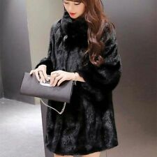 Women's Outwear Long Faux Fox Fur Coat Soft Overcoat Winter Loose White Black