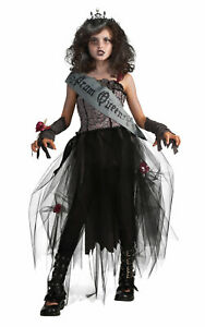 Girls Zombie Prom Queen Costume Dead Corpse Child Outfit Halloween Fancy Dress