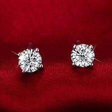 18ct white gold GF simulated diamond girl ladies stud earrings SOLITAIRE aeiwo