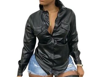 Faux Leather Button Up Top