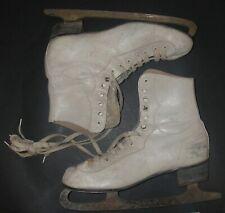 New listing Vintage Jc Higgins Women Ice Figure Skates White Leather Holiday Winter Decor