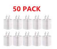50X 1A USB Power Adapter AC Home Wall Charger White FOR Apple Samsung LG