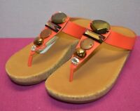 FitFlop A42 Women's Jeweley Toe Post Flip Flop Leather Thong Sandals 6 7 8 9 New