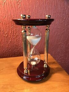 Wooden Antique Hourglass ⌛️Sand Timer Brass And Wood Base 60 Minutes