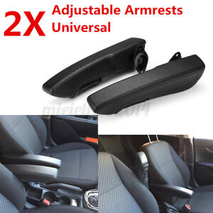 2Pcs Universal Left+Right Side Car Seat Adjustable Armrest Console Box Arm Rest