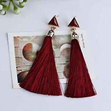 Women Fashion Rhinestone Long Tassel Dangle Earrings Fringe Drop Jewelry Gift UK Red-2356