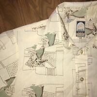 Vtg 60s 70s Shirt BARDON Permanent Press Disco Dress Mod Big Collar MENS MEDIUM