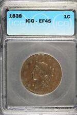 1838 - Icg Ef45 Coronet Head Large Cent! #B17806