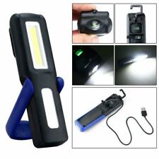 USB Rechargeable 3W COB LED Work Light Lamp Magnetic Flashlight Torch Blue