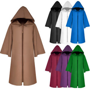 Adult Kids Grim Reaper Vintage Medieval Long Jacket Cloak Coat Halloween Costume