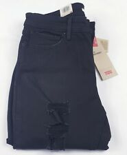 Levi's Women's 711 Skinny Jeans Ripped Mid Rise In Black 70% off original price