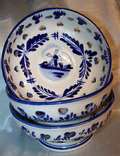 SET OF (3) BLUE & WHITE DELFT STYLE BOWLS~CHINESE PORCELAIN~CUTOUTS~PEDESTAL~NEW
