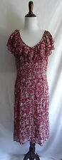 Anthropologie 10 Odille Romantic Boho Ruffle Pink Wine Silk Floral Gypsy Dress