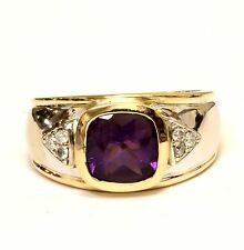 14k yellow gold womens .09ct diamond amethyst ring ladies 9.1g estate bezel set