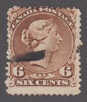 """Canada Scott #27a  6 cent yellow brown  """"Large Queen""""  F **"""