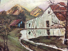 Jolie huile sur toile paysage montagne signature illisible ?