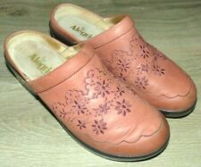 Women's Size 40 Alegria Salmon Pink Isabelle Flower Leather Shoes Burnish Mules