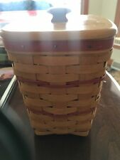 Tall Longaberger Utensil Basket With Red Trim And Wooden Lid.