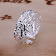*UK* 925 SILVER PLT ADJUSTABLE LATTICE WOVEN RING INTERTWINED THUMB BRAID WRAP