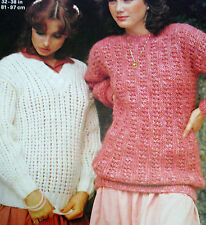 "1682 LADIES LOVELY CHUNKY MOHAIR SWEATERS KNITTING PATTERN  32-38"" 81-97cm"
