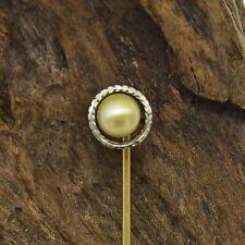 14k Yellow & White Gold Vintage Wreath Design Pearl Stick Pin