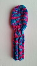 """*@Pink/Blue 8"""" Hand Knit Golf Club Headcover fits putter, iron, hybrid, wedges"""