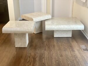 1980's Three Piece Postmodern Lacquered Faux travertine Waterfall Edge Table Set