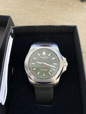 Victorinox Swiss Army Men's INOX Black Leather Watch Green Dial