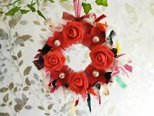 Wall Decoration Fabric Wreath boho mixed Style Red Rose Approx 25cm