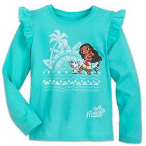 Disney Authentic Moana Pua & Hei Hei Chicken Cute T-Shirt Tee Girls 10/12