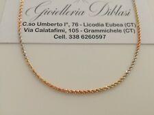 COLLANA In ORO GIALLO BIANCO ROSSO Donna Oro 18 KT 750% Modello CORDA Collier