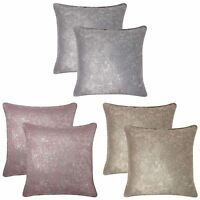 """Set of 2 Halo Metallic Cushion Covers Modern Shimmer Bling Cover Pairs 17"""" x 17"""""""
