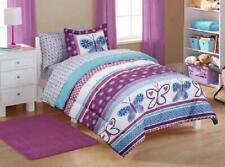 7Pc Girl Purple Blue Butterfly Polka Dot Full Comforter Set (7Pc Bed In A Bag)