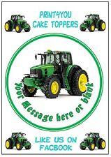 Trattore Verde Contadino personalizzata ROUND CAKE TOPPER glassa