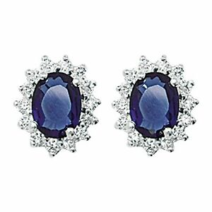 Aeon Twilight Sapphire Colour and White Cubic Zirconia Stud Earrings - Hypoaller