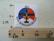 STICKER,DECAL ROYAL NETHERLANDS AIR FORCE,LEGER, ARMY, PC-7 AIRPLANE