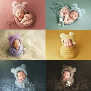 3pcs Infant Photography Knitted Boys Girls Props Faux Fur Hat Blanket Bear Doll