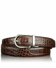 NWT TUMI men's 40 belt Crocodile leather brushed nickel hardware Brown $225