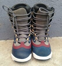 BURTON BOOTS SIZE 5 MENS NAVY BLUE BURGUNDY GRAY AND WHITE PRE-OWNED