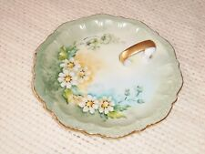 Antique Signed N. Albury Porcelain Daisy Hand Painted Handle Jewelry Plate